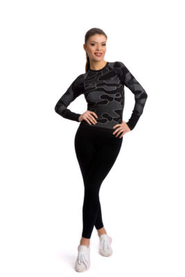 галерия безшевно облекло - дамска термо блуза черен камуфлаж с клин