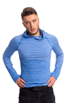 галерия безшевно облекло - термо блуза с качулка и дълъг ръкав в синьо