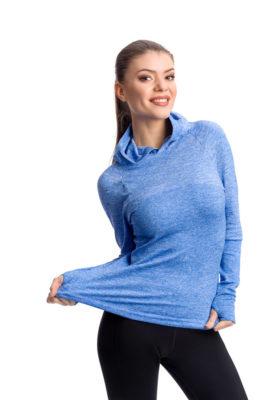 галерия безшевно облекло - синя термо блуза с качулка и дълъг ръкав дамски модел