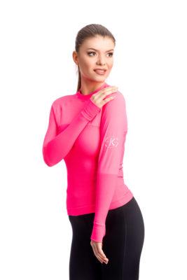 галерия безшевно облекло - дамска термо блуза с дълъг ръкав - розова