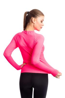 галерия безшевно облекло - дамска термо блуза с дълъг ръкав - розова гръб