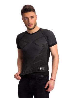 галерия безшевно облекло - мъжка термо блуза в черно с къс ръкав