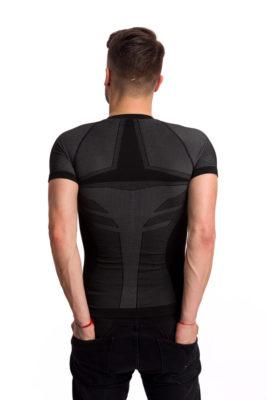 галерия безшевно облекло - мъжка термо блуза в черно с къс ръкав гръб