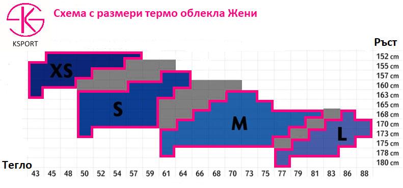 термо бельо от KSPORT - таблица с размери за дамски модели