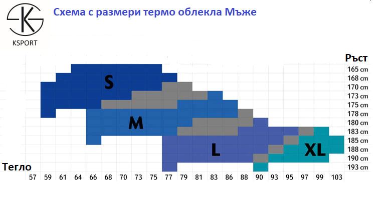 термо бельо от KSPORT - таблица с размери за мъжки модели