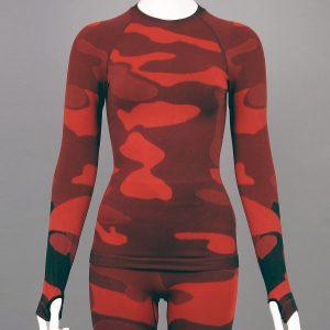 Дамска термо блуза с дълъг ръкав червен камуфлаж - снимка 1