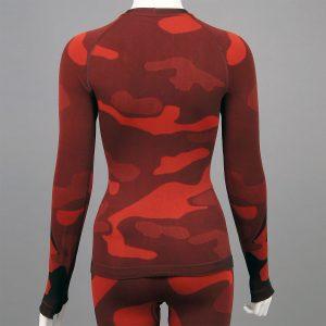 Дамска термо блуза с дълъг ръкав червен камуфлаж - снимка 2