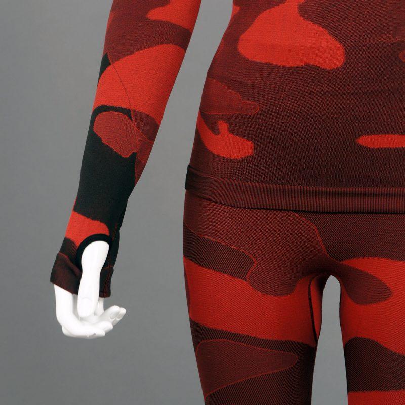 Дамска термо блуза с дълъг ръкав и поло яка в цвят червен камуфлаж - снимка 6