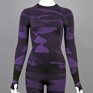 Дамска термо блуза с дълъг ръкав цвят лилав камуфлаж - снимка 1