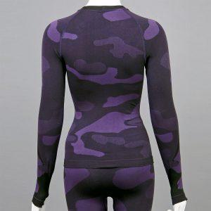 Дамска термо блуза с дълъг ръкав цвят лилав камуфлаж - снимка 2 гръб