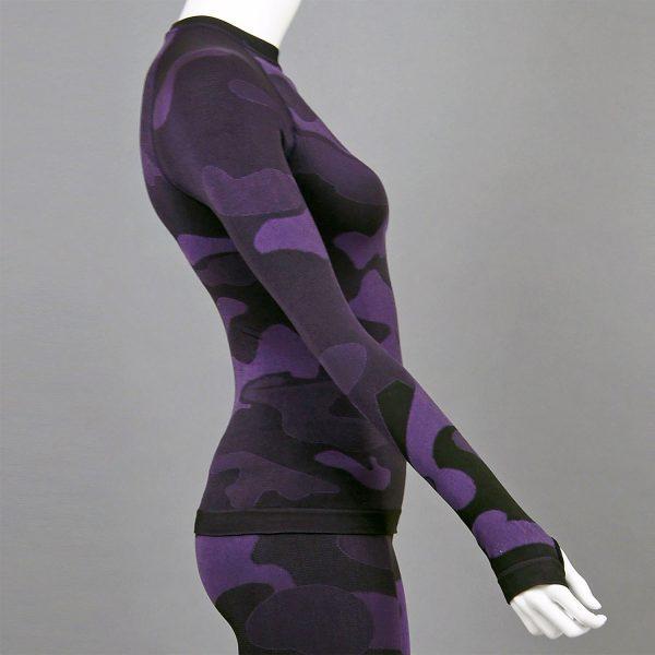 Дамска термо блуза с дълъг ръкав цвят лилав камуфлаж - снимка 3