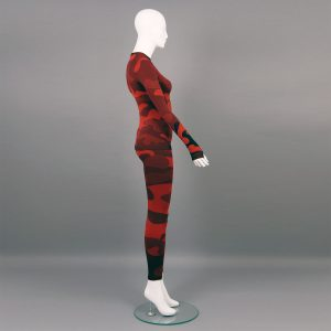 Термо комплект дамски - червено комо без качулка - снимка отстрани