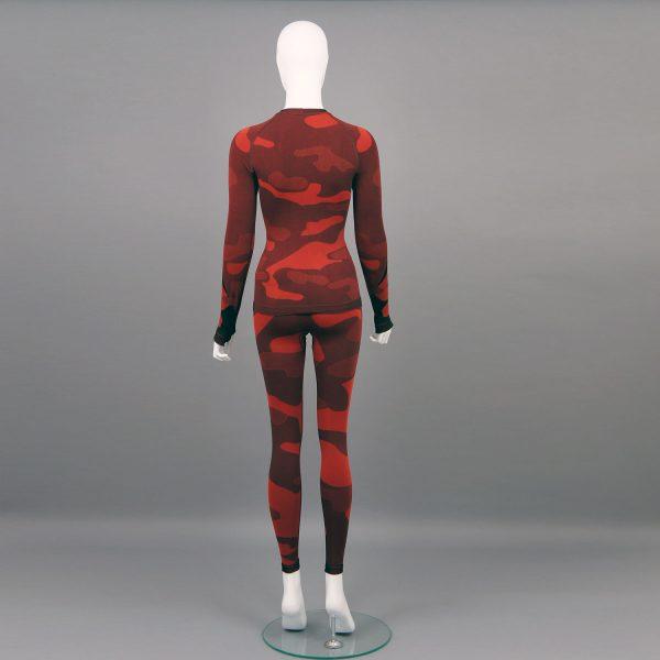 Термо комплект дамски - червено комо без качулка - снимка отзад