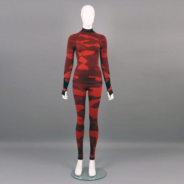 Термо комплект дамски червено комо без качулка с поло яка - снимка отпред