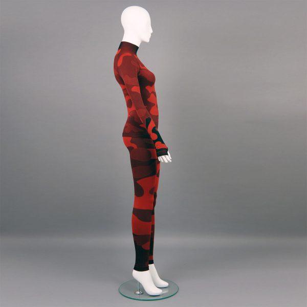 Термо комплект дамски - червено комо без качулка с поло яка - снимка отсрани