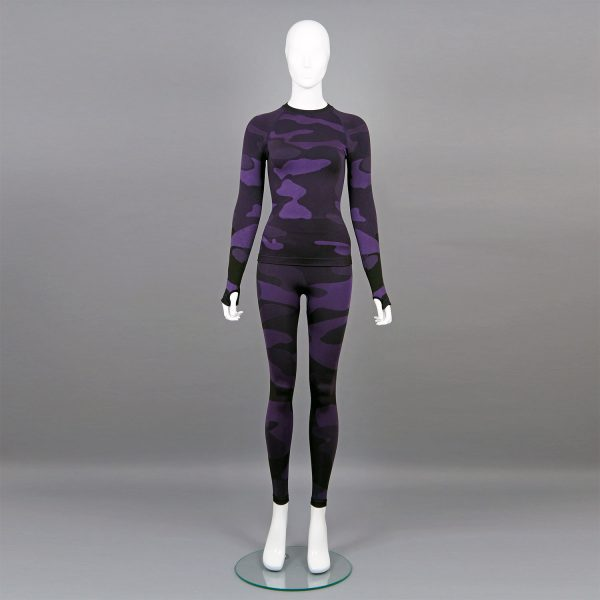 Термо комплект дамски цвят лилав камуфлаж - снимка 1