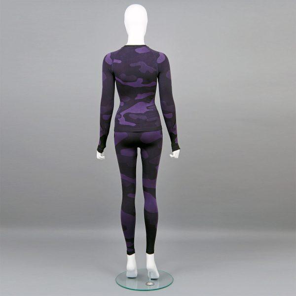 Термо комплект дамски цвят лилав камуфлаж - снимка 2