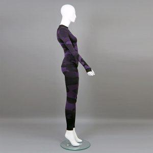 Термо комплект дамски цвят лилав камуфлаж - снимка 3