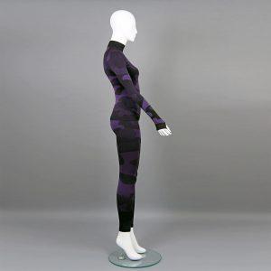 термо комплект дамски цвят лилав камуфлаж с поло яка - снимка 1