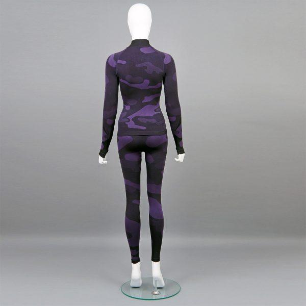 термо комплект дамски цвят лилав камуфлаж с поло яка - снимка 2