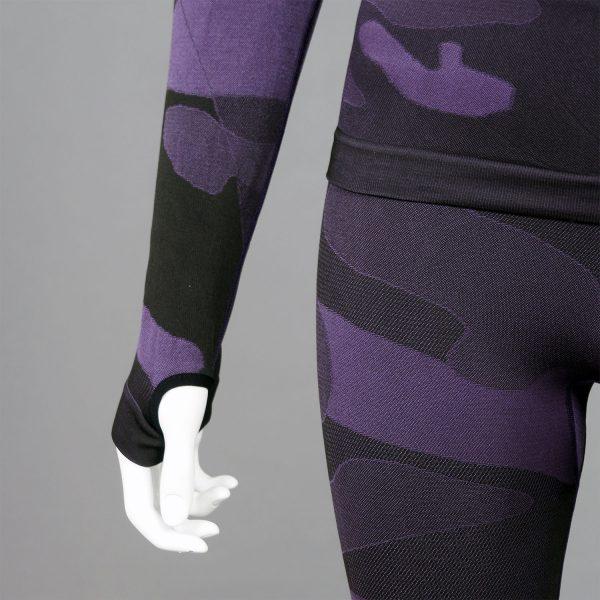термо комплект дамски цвят лилав камуфлаж с поло яка - снимка 4