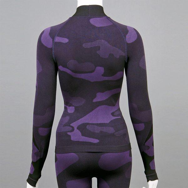 дамска термо блуза с поло яка лилав камуфлаж - снимка 2