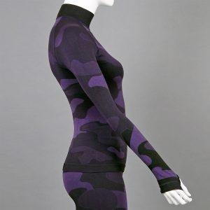 дамска термо блуза с поло яка лилав камуфлаж - снимка 3