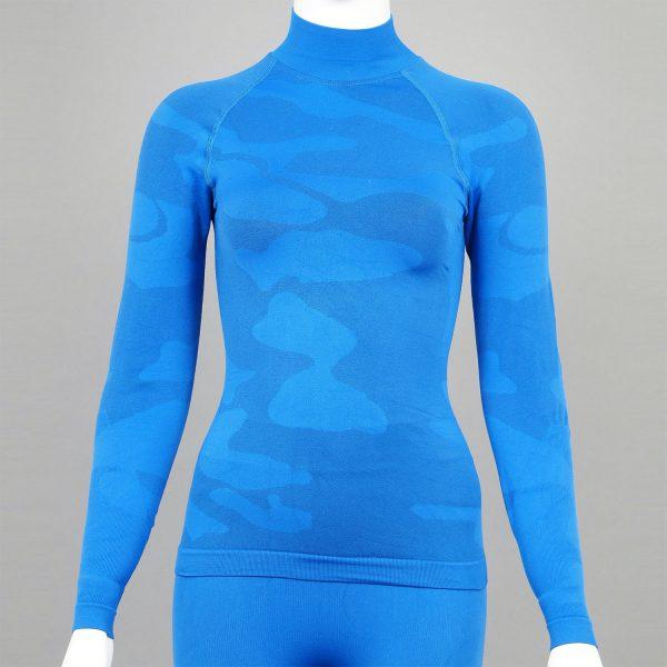 Дамска термо блуза с поло яка в цвят син камуфлаж - снимка 1