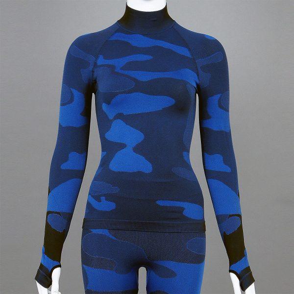 Дамска термо блуза с поло яка в цвят тъмносин камуфлаж - снимка 1