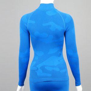 Дамска термо блуза с поло яка в цвят син камуфлаж - снимка 2