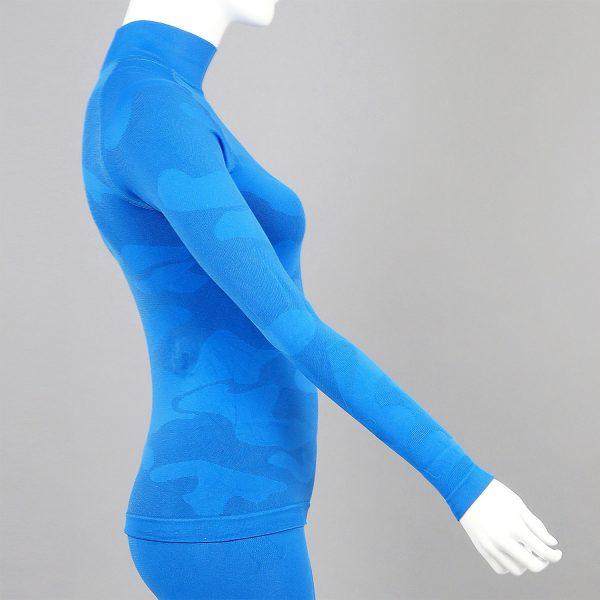 Дамска термо блуза с поло яка в цвят син камуфлаж - снимка 3