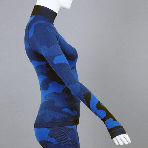 Дамска термо блуза с поло яка в цвят тъмносин камуфлаж - снимка 3