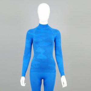 Дамска термо блуза с поло яка в цвят син камуфлаж - снимка 4