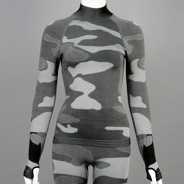 Дамска термо блуза с поло яка в цвят сив камуфлаж на марката KSport - снимка 1