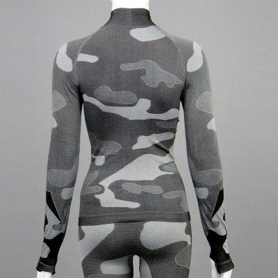 Дамска термо блуза с поло яка в цвят сив камуфлаж на марката KSport - снимка 2