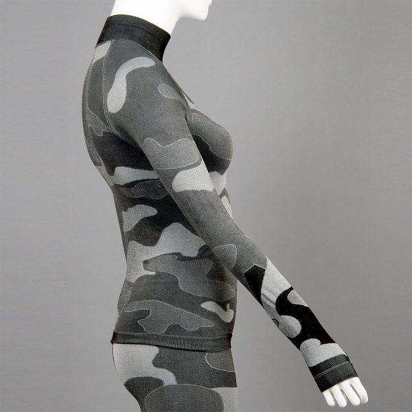 Дамска термо блуза с поло яка в цвят сив камуфлаж на марката KSport - снимка 3