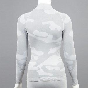Дамска термо блуза с поло яка в цвят светлосив камуфлаж - снимка 2
