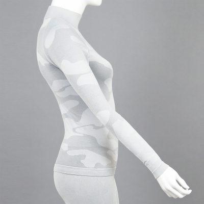 Дамска термо блуза с поло яка в цвят светлосив камуфлаж - снимка 3