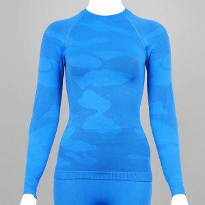 Дамска термо блуза с дълъг ръкав цвят син камуфлаж - снимка 1