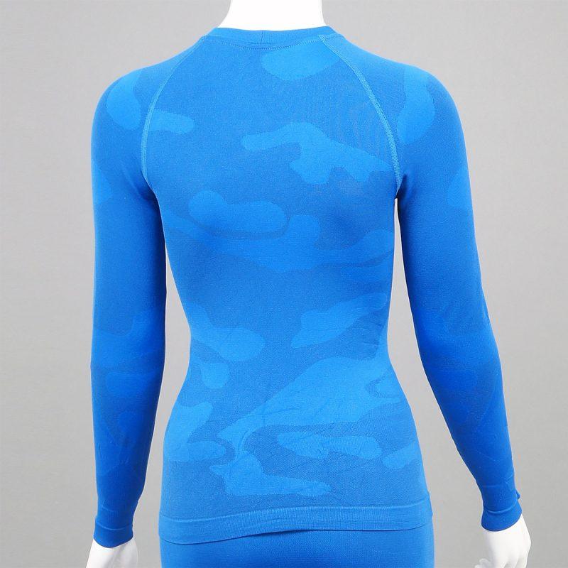 Дамска термо блуза с дълъг ръкав цвят син камуфлаж - снимка 2