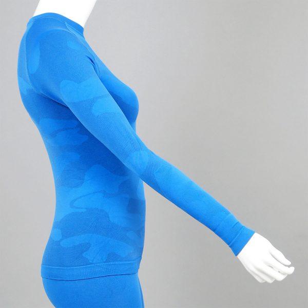 Дамска термо блуза с дълъг ръкав цвят син камуфлаж - снимка 3
