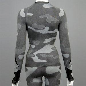 Дамска термо блуза с дълъг ръкав цвят сив камуфлаж на марката KSport - снимка 2
