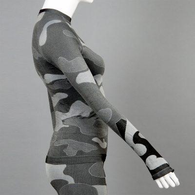 Дамска термо блуза с дълъг ръкав цвят сив камуфлаж на марката KSport - снимка 3