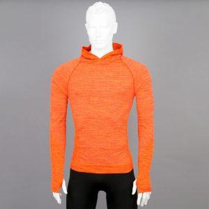 Мъжка термо блуза с качулка в оранжев цвят на марката KSport - снимка 1