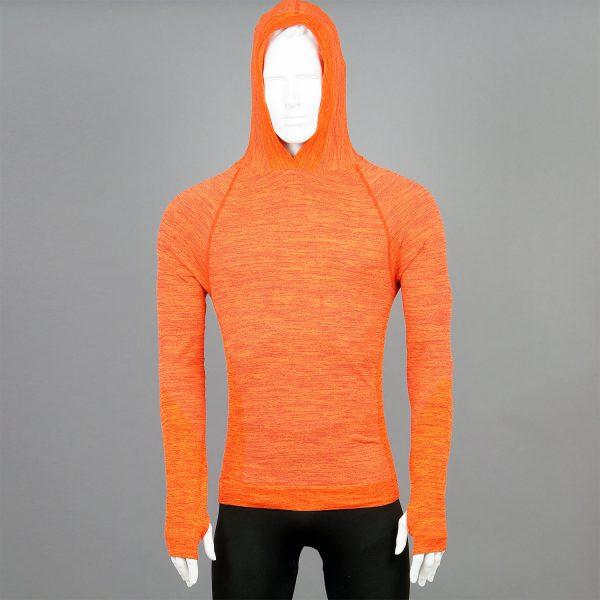 Мъжка термо блуза с качулка в оранжев цвят на марката KSport - снимка 2