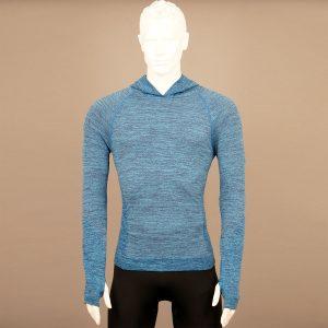 Мъжка термо блуза с качулка син цвят на марката KSport - снимка 1