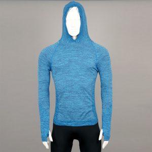 Мъжка термо блуза с качулка синя на марката KSport - снимка 2