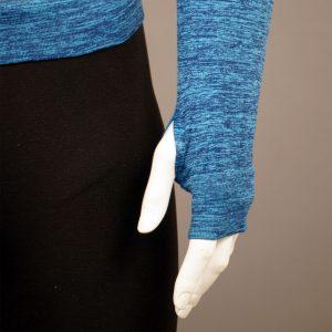Мъжка термо блуза с качулка син цвят на марката KSport - детайл