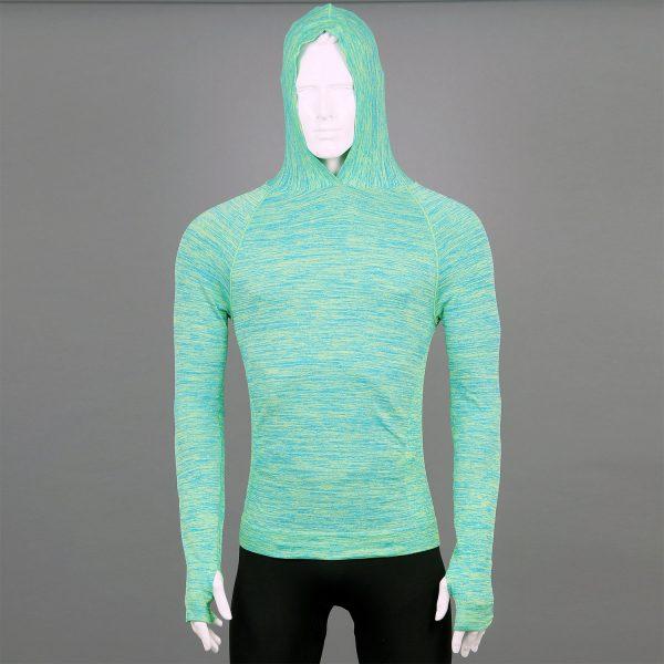 Мъжка термо блуза с качулка зелен цвят марка KSport - снимка 3