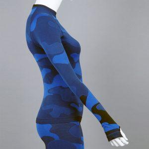 Дамска термо блуза с дълъг ръкав цвят тъмносин камуфлаж - снимка 2
